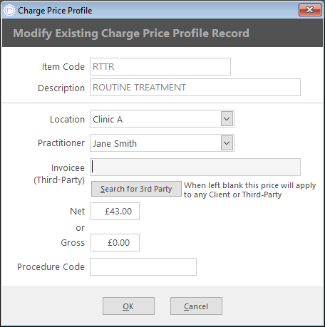 once the charge is selected you can choose whether to distinguish the price profile by location clinic or invoicee you can use one two or all three of
